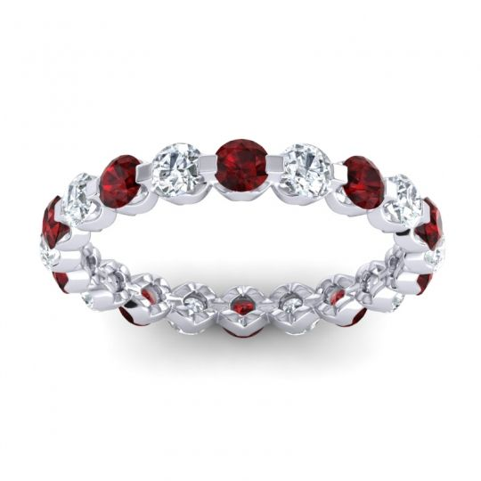 Garnet Eternity Vici Band with Diamond in 14k White Gold