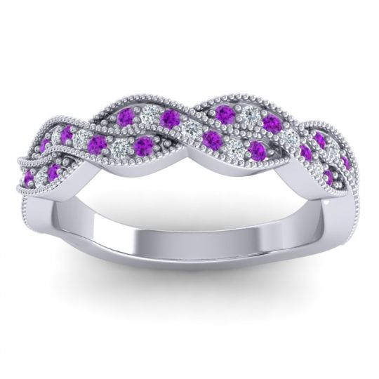Amethyst Half Eternity Sarpa Band with Diamond in 14k White Gold