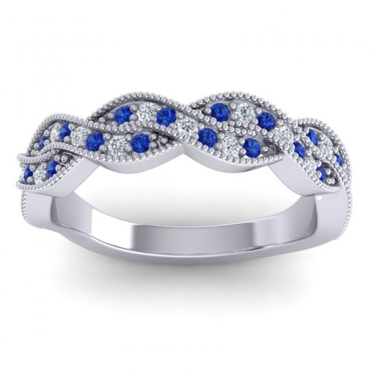 Blue Sapphire Half Eternity Sarpa Band with Diamond in 14k White Gold