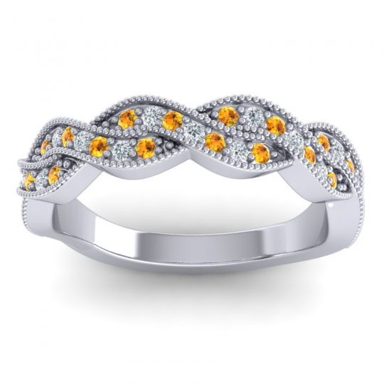 Citrine Half Eternity Sarpa Band with Diamond in 14k White Gold