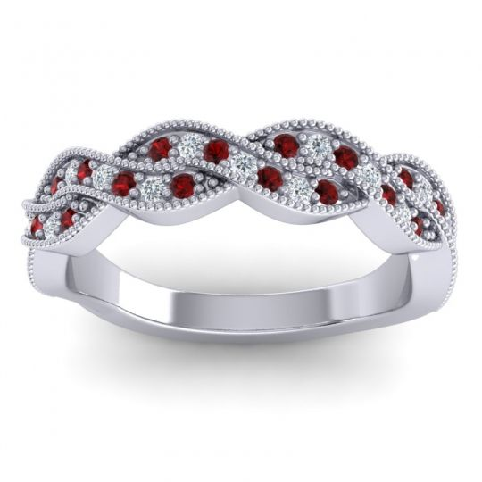 Garnet Half Eternity Sarpa Band with Diamond in 14k White Gold
