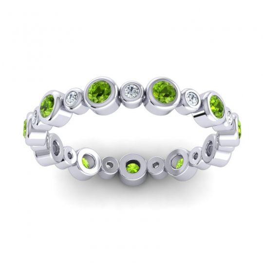 Eternity Vizaya Peridot Band with Diamond in 14k White Gold