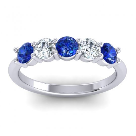 Blue Sapphire Classic Tala Band with Diamond in 14k White Gold