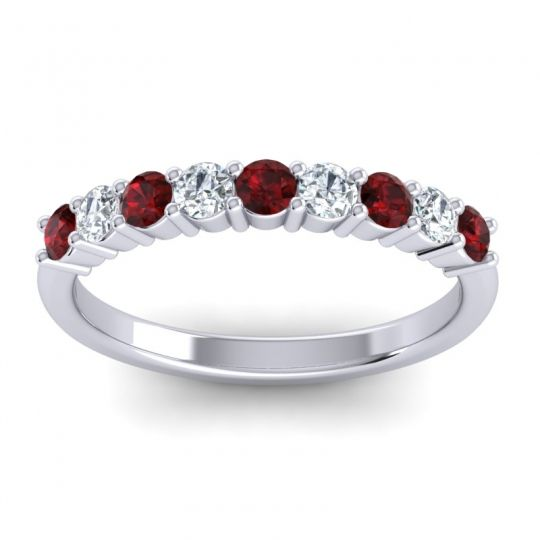Garnet Classic Pave Ananta Band with Diamond in 14k White Gold