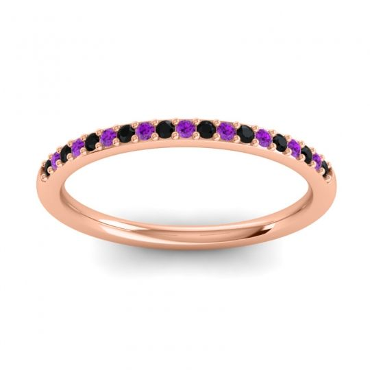 Amethyst Half Eternity Pradhi Band with Black Onyx in 18K Rose Gold