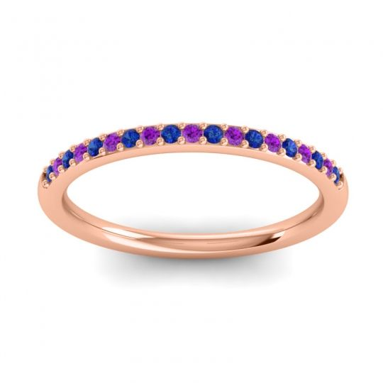 Amethyst Half Eternity Pradhi Band with Blue Sapphire in 14K Rose Gold