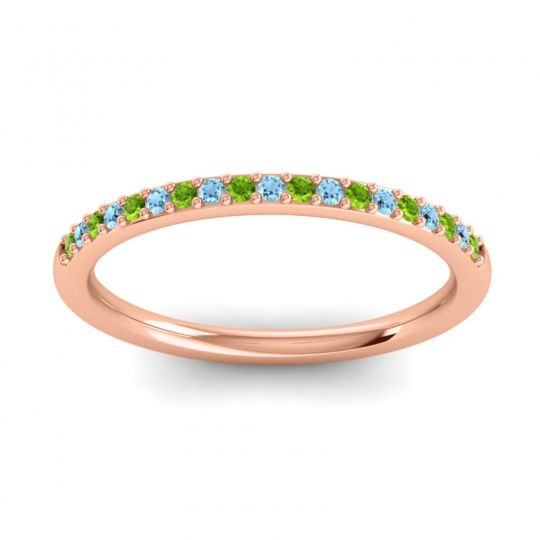 Aquamarine Half Eternity Pradhi Band with Peridot in 18K Rose Gold