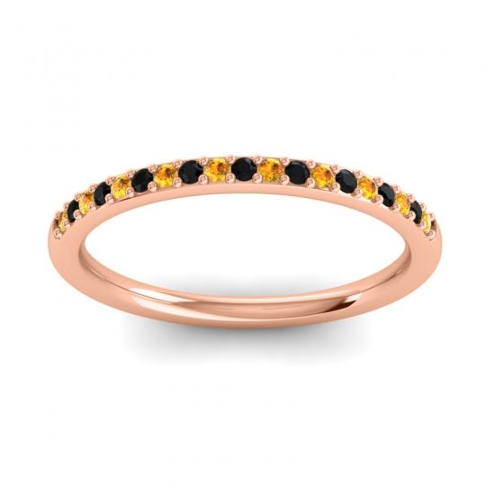 Black Onyx Half Eternity Pradhi Band with Citrine in 14K Rose Gold