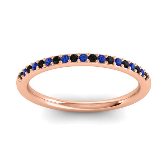 Blue Sapphire Half Eternity Pradhi Band with Black Onyx in 18K Rose Gold