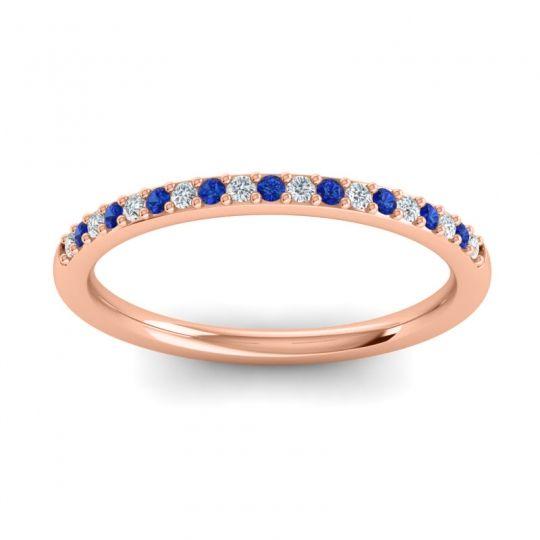 Blue Sapphire Half Eternity Pradhi Band with Diamond in 18K Rose Gold