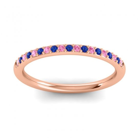 Blue Sapphire Half Eternity Pradhi Band with Pink Tourmaline in 14K Rose Gold