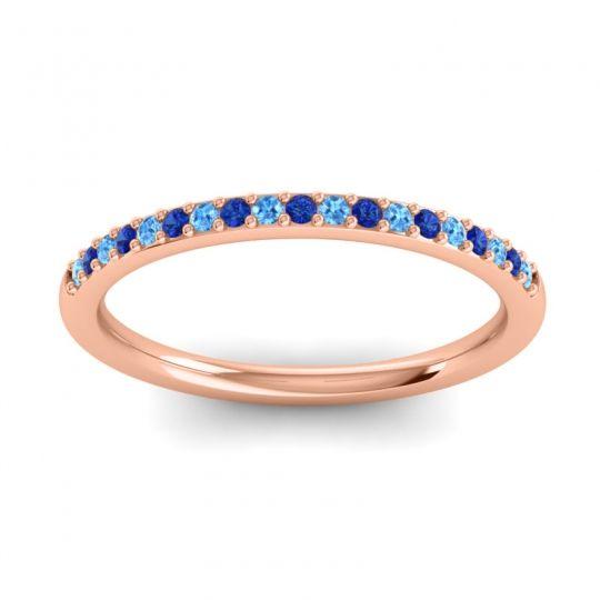 Blue Sapphire Half Eternity Pradhi Band with Swiss Blue Topaz in 14K Rose Gold