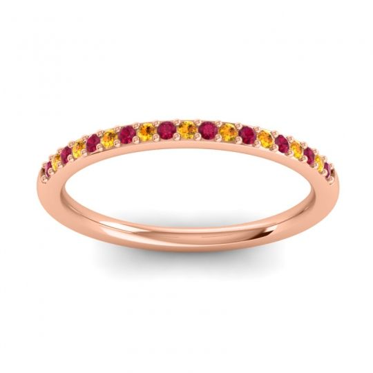 Citrine Half Eternity Pradhi Band with Ruby in 14K Rose Gold