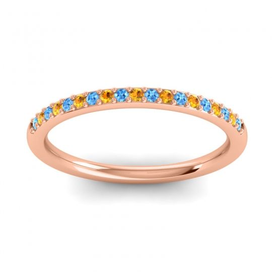Citrine Half Eternity Pradhi Band with Swiss Blue Topaz in 14K Rose Gold