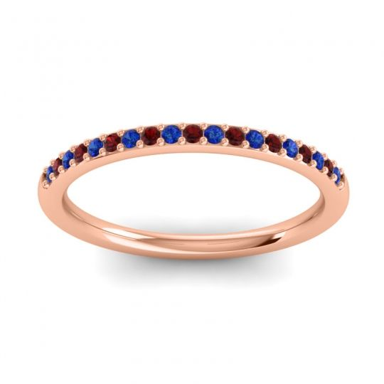 Garnet Half Eternity Pradhi Band with Blue Sapphire in 14K Rose Gold