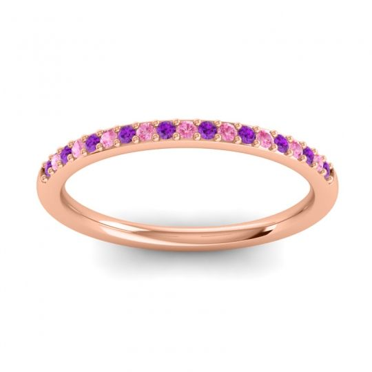 Pink Tourmaline Half Eternity Pradhi Band with Amethyst in 18K Rose Gold