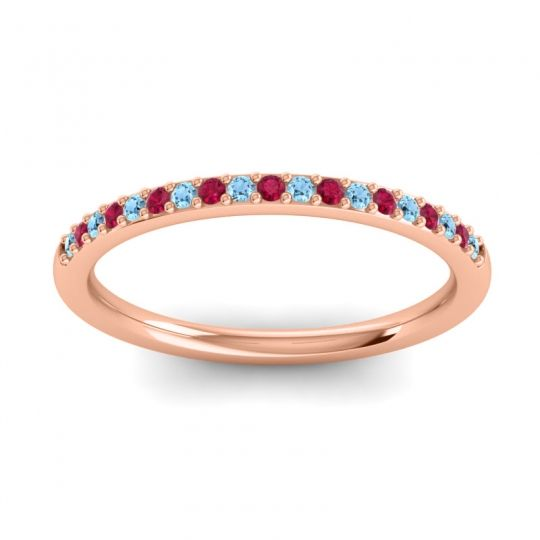 Ruby Half Eternity Pradhi Band with Aquamarine in 14K Rose Gold