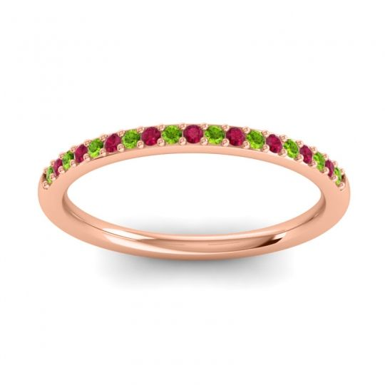 Ruby Half Eternity Pradhi Band with Peridot in 14K Rose Gold