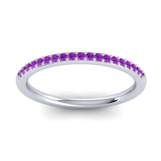 Amethyst Half Eternity Pradhi Band in Palladium