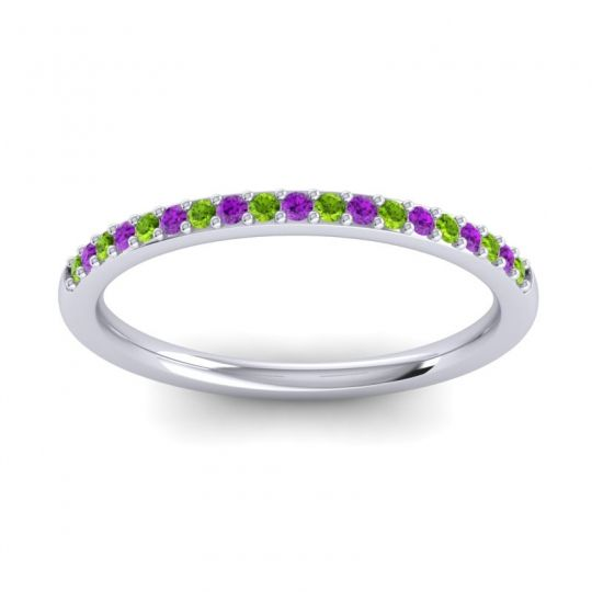 Amethyst Half Eternity Pradhi Band with Peridot in 14k White Gold