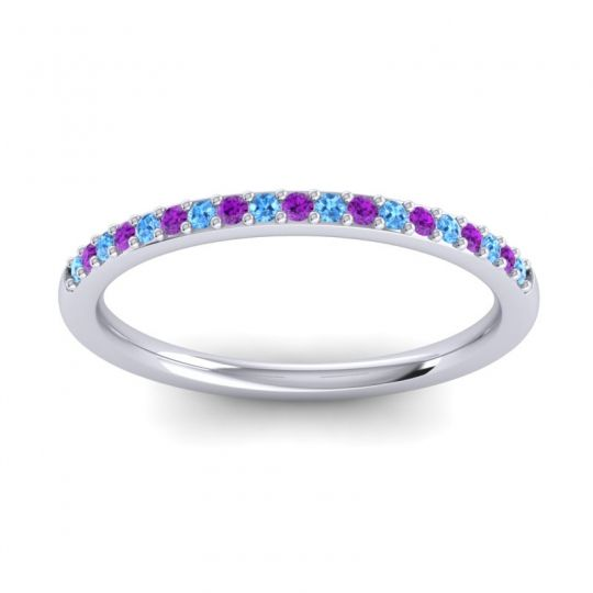 Amethyst Half Eternity Pradhi Band with Swiss Blue Topaz in 18k White Gold