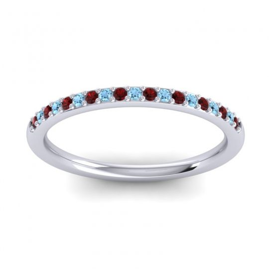 Aquamarine Half Eternity Pradhi Band with Garnet in 14k White Gold