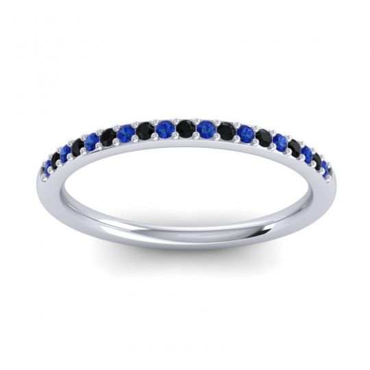 Black Onyx Half Eternity Pradhi Band with Blue Sapphire in 14k White Gold