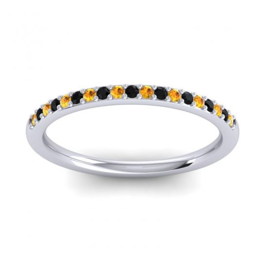 Black Onyx Half Eternity Pradhi Band with Citrine in Platinum