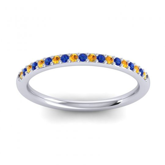 Blue Sapphire Half Eternity Pradhi Band with Citrine in Platinum