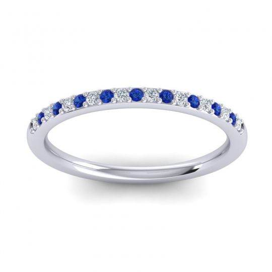 Blue Sapphire Half Eternity Pradhi Band with Diamond in 18k White Gold