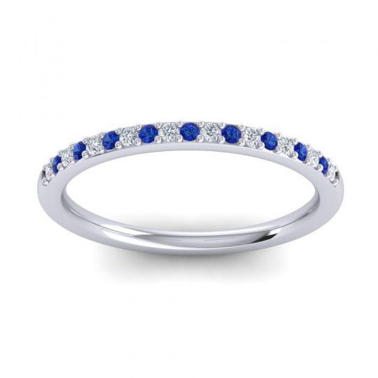 Blue Sapphire Half Eternity Pradhi Band with Diamond in Palladium