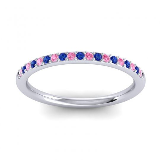Blue Sapphire Half Eternity Pradhi Band with Pink Tourmaline in Platinum