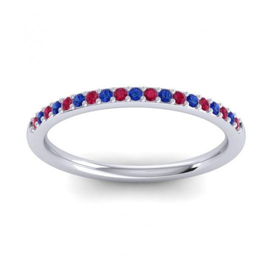 Blue Sapphire Half Eternity Pradhi Band with Ruby in Platinum