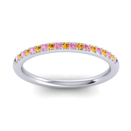 Citrine Half Eternity Pradhi Band with Pink Tourmaline in 18k White Gold