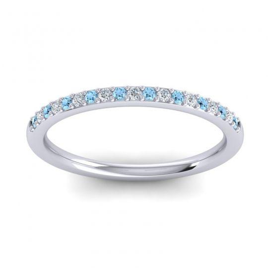 Diamond Half Eternity Pradhi Band with Aquamarine in 14k White Gold
