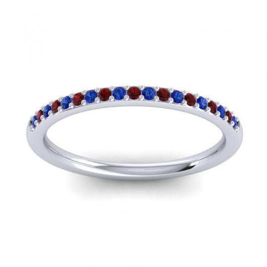 Garnet Half Eternity Pradhi Band with Blue Sapphire in 18k White Gold
