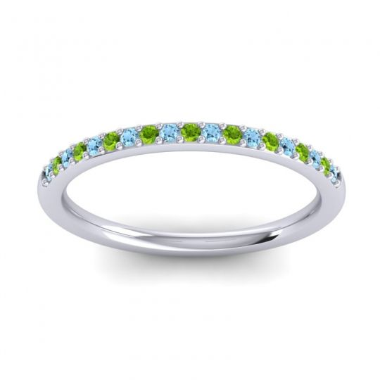 Peridot Half Eternity Pradhi Band with Aquamarine in Palladium