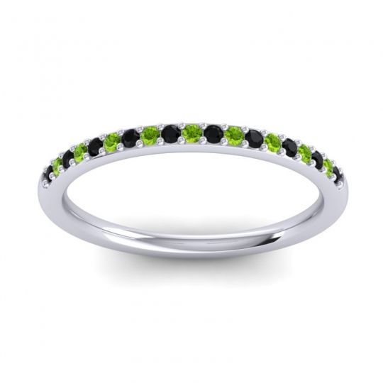 Peridot Half Eternity Pradhi Band with Black Onyx in 18k White Gold