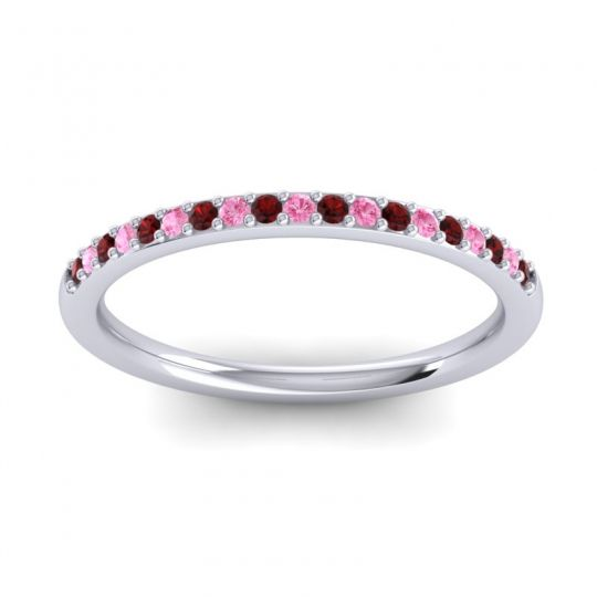 Pink Tourmaline Half Eternity Pradhi Band with Garnet in 18k White Gold