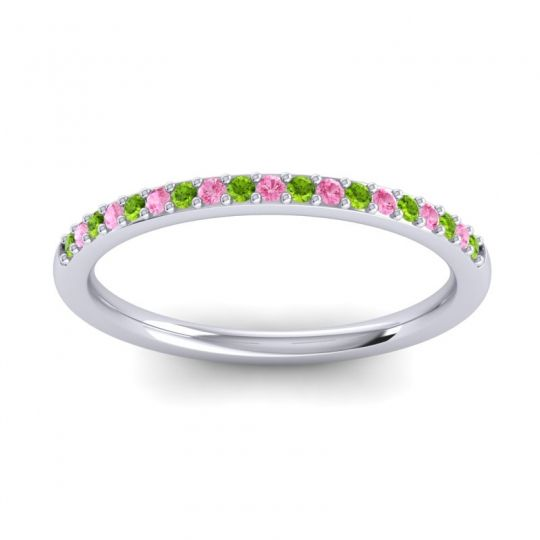 Pink Tourmaline Half Eternity Pradhi Band with Peridot in 18k White Gold