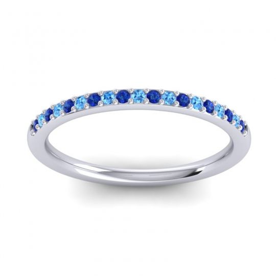 Swiss Blue Topaz Half Eternity Pradhi Band with Blue Sapphire in 14k White Gold