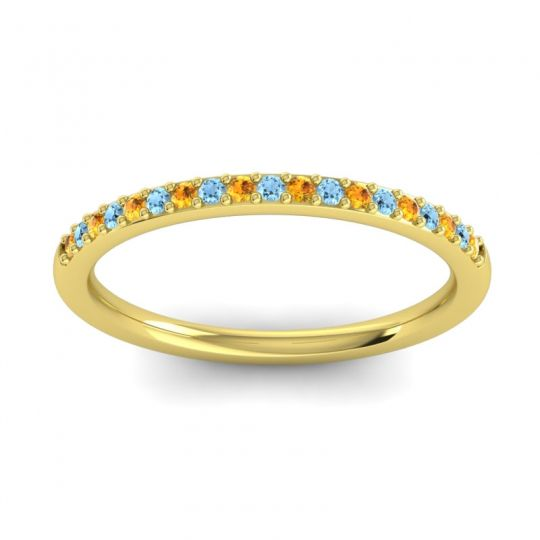 Aquamarine Half Eternity Pradhi Band with Citrine in 14k Yellow Gold