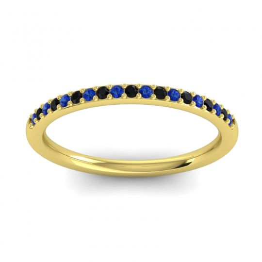 Black Onyx Half Eternity Pradhi Band with Blue Sapphire in 18k Yellow Gold