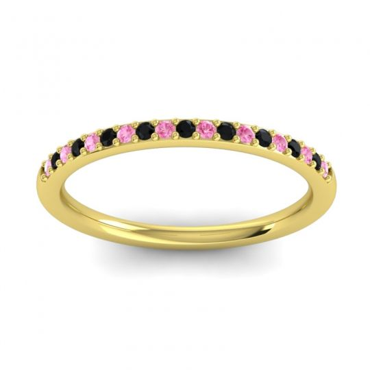 Black Onyx Half Eternity Pradhi Band with Pink Tourmaline in 14k Yellow Gold