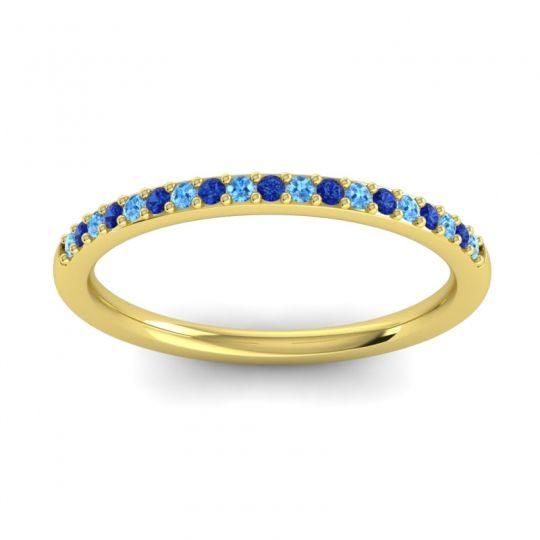 Blue Sapphire Half Eternity Pradhi Band with Swiss Blue Topaz in 18k Yellow Gold