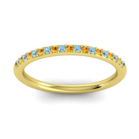 Citrine Half Eternity Pradhi Band with Aquamarine in 18k Yellow Gold