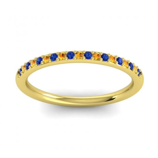Citrine Half Eternity Pradhi Band with Blue Sapphire in 18k Yellow Gold