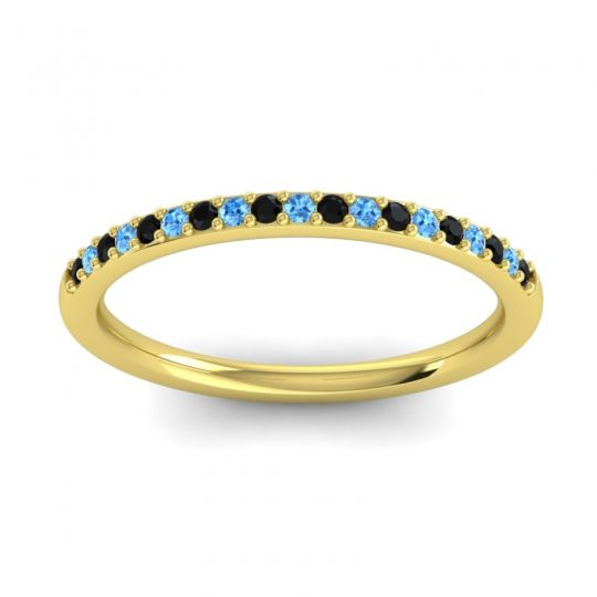 Swiss Blue Topaz Half Eternity Pradhi Band with Black Onyx in 18k Yellow Gold