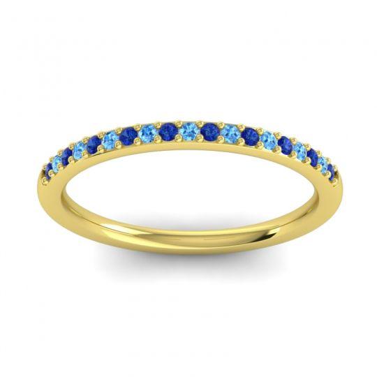 Swiss Blue Topaz Half Eternity Pradhi Band with Blue Sapphire in 18k Yellow Gold