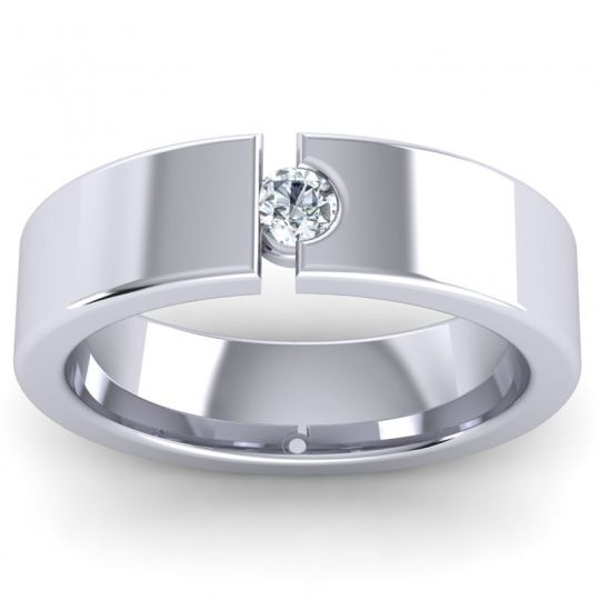 Diamond Polished Kujji Band in 14k White Gold